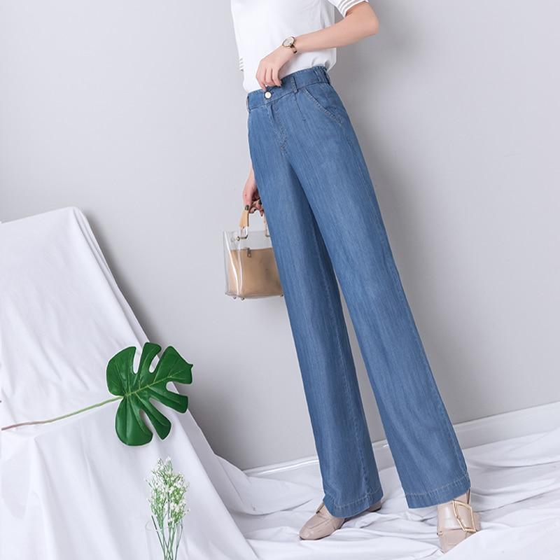 High Waist Wide Leg   Jeans   Women Summer Blue Denim Thin Full Length   Jeans   Casual Elegant Korean Boyfriend   Jeans   for Women 2019