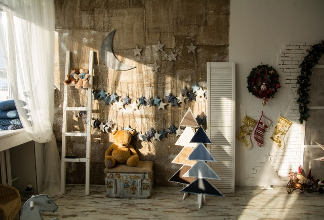 Laeacco Shabby Chic Decor Wall Trees Bear Toys Scene Photography ...