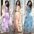 Starlist woman Boho sleeveless empire maxi floor-length chiffon dress with gold belt with lining floral dress with bow summer