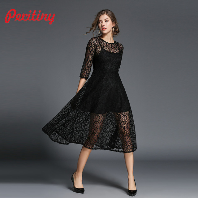 c83cdace2ec Peritiny Lace Dress Fake Two Pieces Stitching Pink Green Black Dress Women  Tunic Casual Christmas New Year Dresses For Women