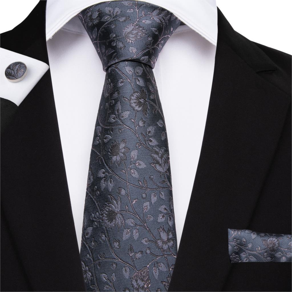 DiBanGu New Classic Gray Floral Tie 160cm Ties 100% Silk Necktie Hanky Cufflinks Tie For Men Business Wedding Tie Set MJ-7508