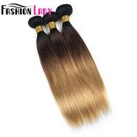 Модные женские предварительно Цветной 3 предмета Ombre человеческих волос перуанский прямые волосы ткань T1B/4/27ombre волос пучки non реми