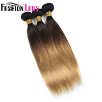 FASHION LADY Pre Colored 3 Piece Ombre Human Hair Peruvian Straight Hair Weave T1B/4/27 Ombre Hair Bundles Non Remy