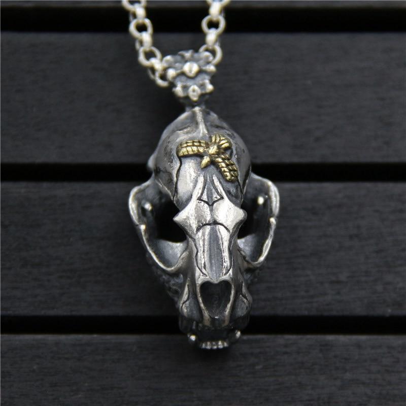 C&R Real 925 Sterling Silver Necklace Retro dinosaur skull pendant men and women Thai Silver Neo-Gothic Fine Jewelry тумба neo 390 c slv