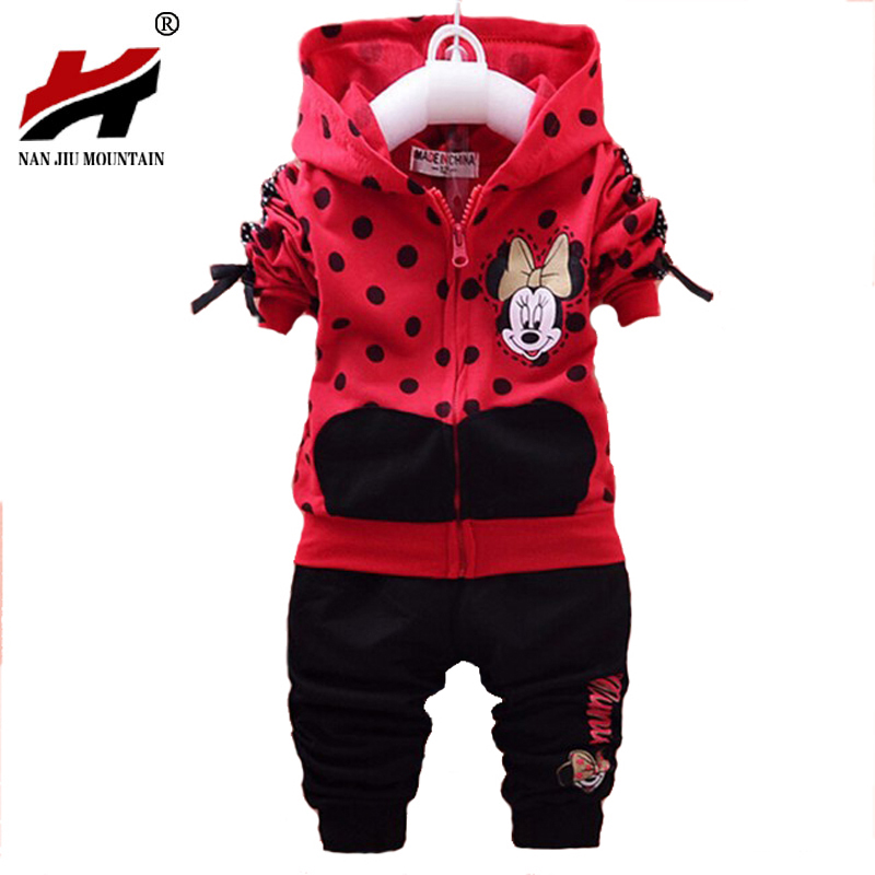 0444c9418052a Baby Girls Clothing Sets Cartoon font b Minnie b font Mouse 2017 Winter  Children s Wear