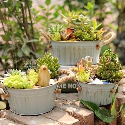 Us 8 79 12 Off 2pcs Rustic Tin Flowerpot Wedding Garden Decoration Bucket Vintage Metal Artificial Flower Plant Succulent Barrel Pot Round Oval In