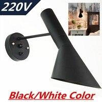 220V Black White E14 LED Lamp Wall Light Cafe Aisle Hall Project Lamp Bedroom
