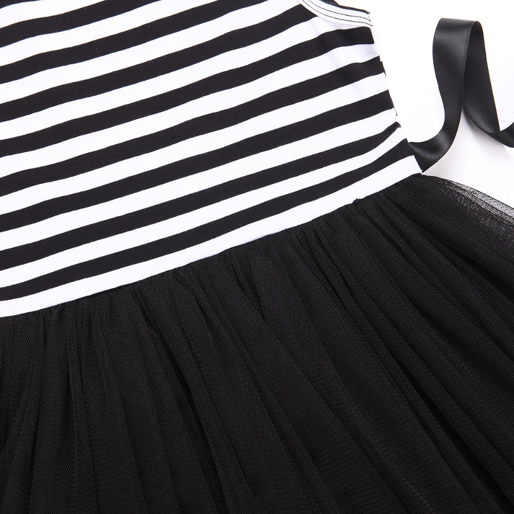 HTB1Ac7ZQVXXXXc3XpXXq6xXFXXXA - Baby Girls Dress 2017 Summer Casual Striped Princess Dresses sleeveless Black and White Stripes Mesh Dress Children Clothing