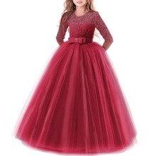 2019 Fashion New Children 3/4 Sleeve Dress for Girls First Communion Ball Gown Long Lace Dress Flower Girls Kids Wedding Dress