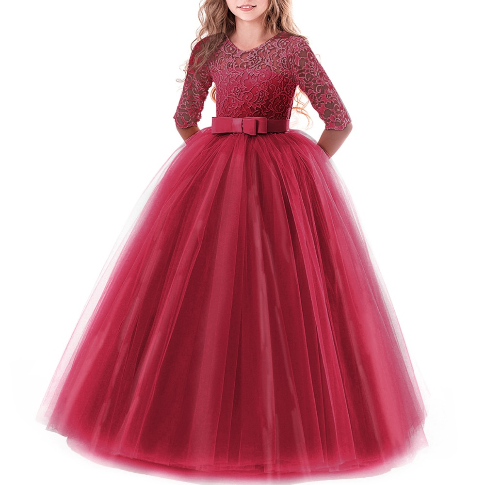 Tulle Princess Dress Flower Girls Wedding for Kids Child Bridesmaid First Communion Ball Gown Long Lace