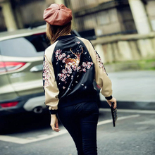2016 vintage Sika Deer & Plum Blossom Embroidery Back Color Pacthwork Zipper Bomber Jackets Street Fashion Short Coat
