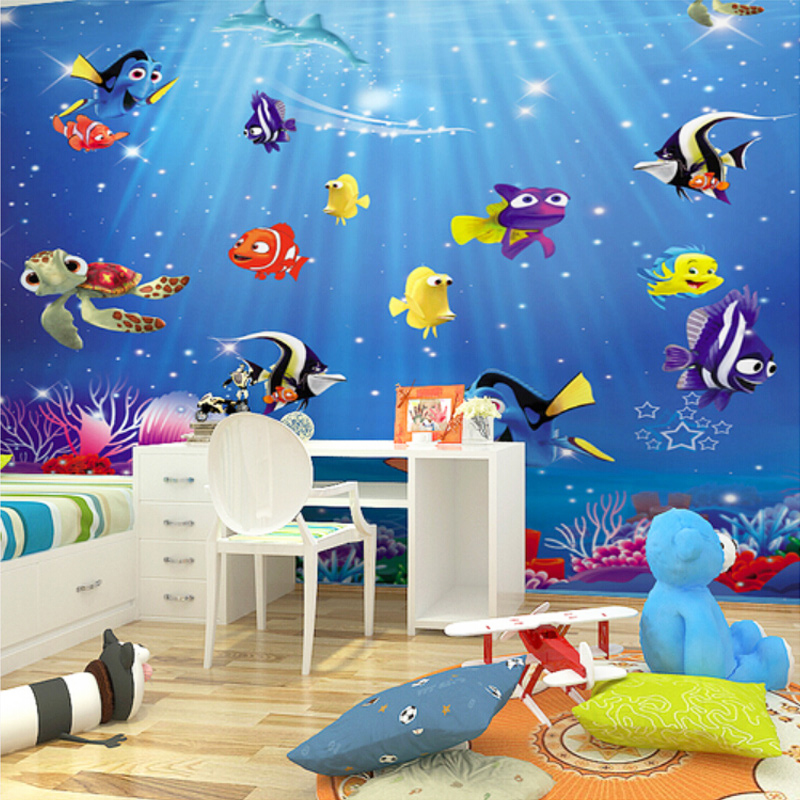Custom Poster Wallpaper 3D Underwater World Playground Theme Park Wall  Covering Mural Childrenu0027s Room Bedroom Wallpaper
