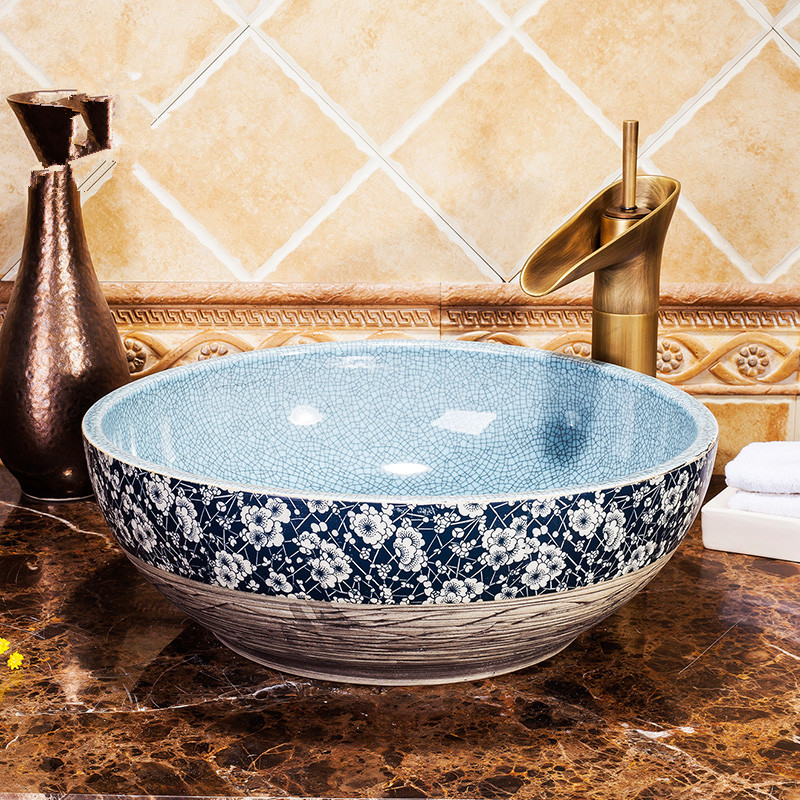 Bathroom vanities chinese Art Counter Top ceramic sink hand blue and white ceramic wash basin bathroom sink