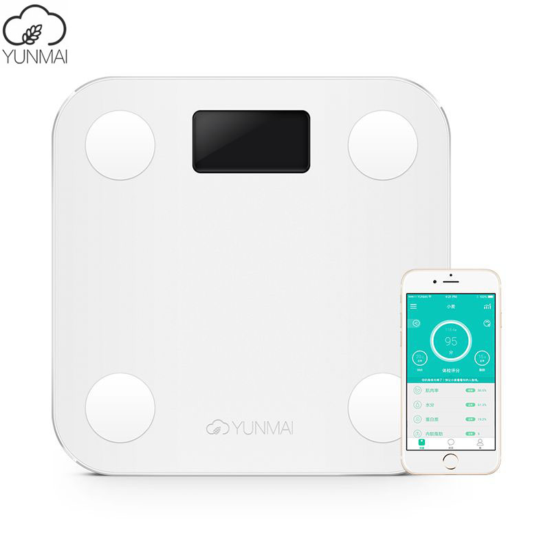 Hot Sale White Smart YUNMAI Mini Scales Household Premium Support Bluetooth APP Fat Percentage Digital Body