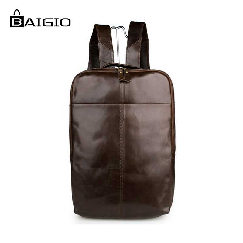 Baigio 2017 Mens Backpacks Sale 14 inch Laptop Bag Backpack Vintage Leather Rucksack Travel Bags Male School Bag Teenagers Bags new canvas backpack travel bag korean version school bag leisure backpacks for laptop 14 inch computer bags rucksack
