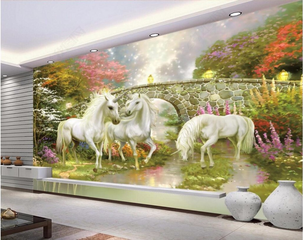 Custom photo 3d room wallpaper Forest bridge fairyland unicorn decoration painting 3d wall murals wallpaper for walls 3 d custom photo 3d wallpaper fish coral aquarium at the bottom of sea decoration painting 3d wall murals wallpaper for walls 3 d
