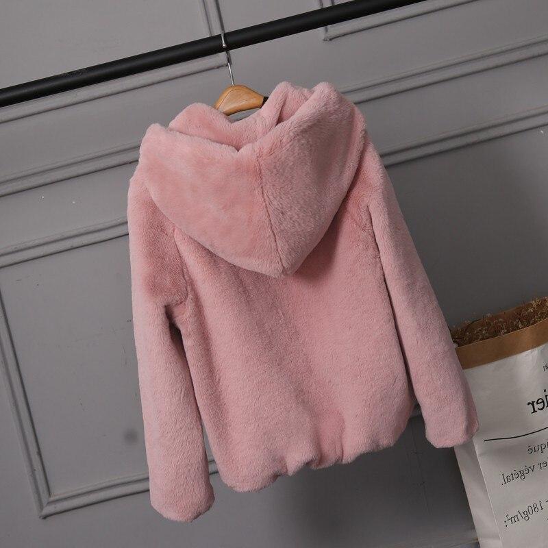 2018 Nouveau Faux Manteau De Fourrure Avec Capuche Taille Haute Mode Mince Noir Rouge Rose En Fausse Fourrure Veste Faux De Fourrure De Lapin