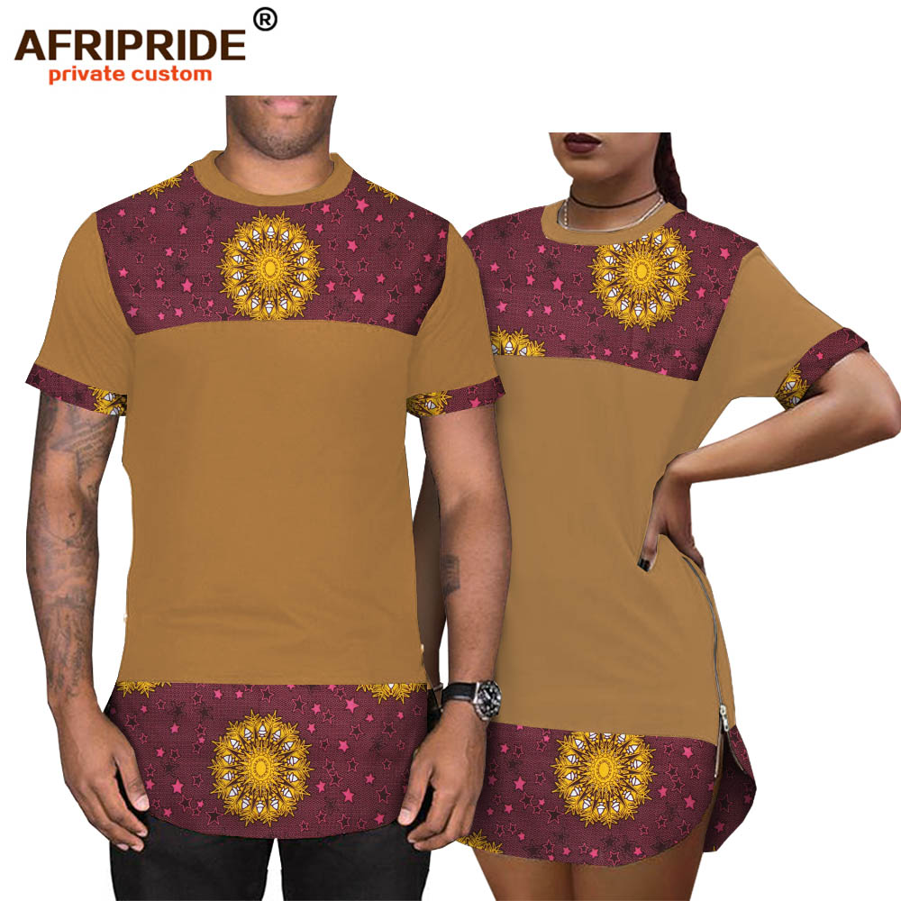 2019 Spring African Wax Print Couple Shirts AFRIPRIDE Customized Short Sleeves Casual Couple's Shirts With Mental Zipper A19C001
