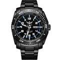 YELANG V1016 Dual Calendar Tritium Luminous Kinetic Black Steel Strap Sapphire Mirror Men Business Watch Wristwatch