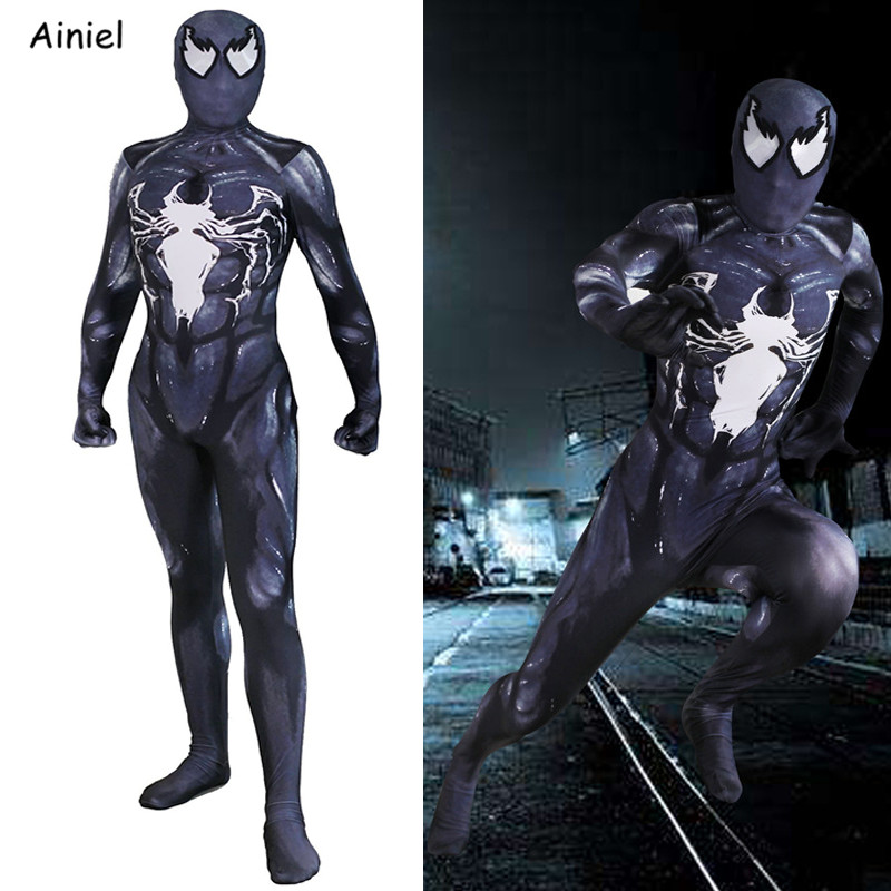 Venom Spider Man Edward Brock Cosplay Costume Mask Superhero Halloween Party Costumes Zentai Bodysuit Jumpsuit Kids
