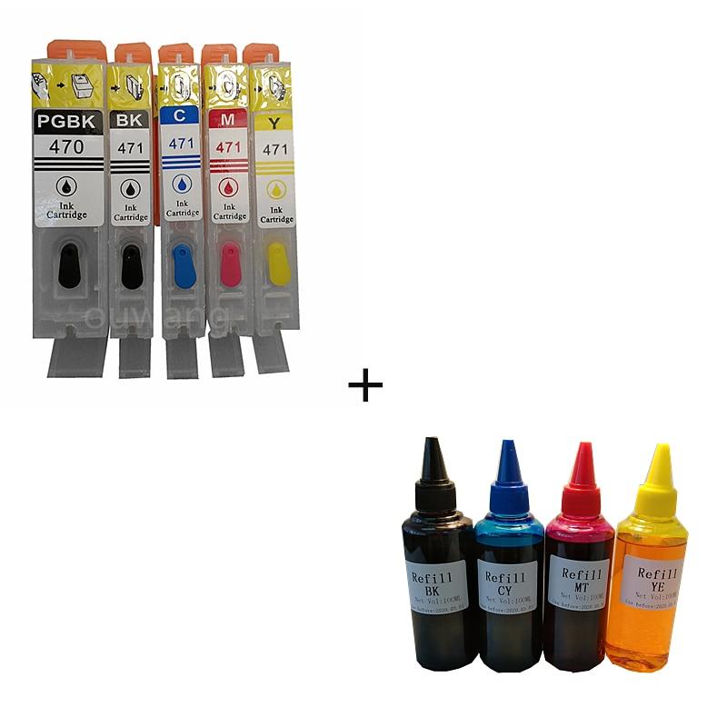 5PCS PGI470 PGI-470 PGBK CLI-471 BK C M Y refillable ink cartridges For canon MG5740 MG6840 TS5040 TS6040 with auto reset chips refillable ink cartridges for hp 70 z2100 3100 b9183 with auto reset chip