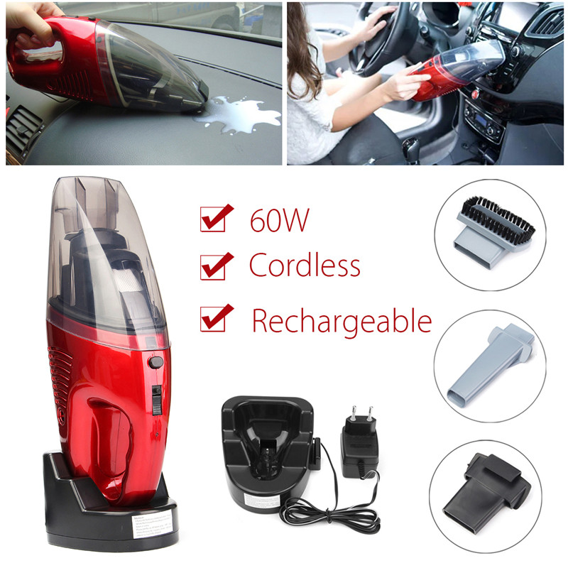 60w Cordless Mini Portable Vacuum Cleaner For Car Dry Wet Handheld