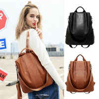 Female anti-theft backpack classic PU leather solid color backpack canta fashion shoulder bag