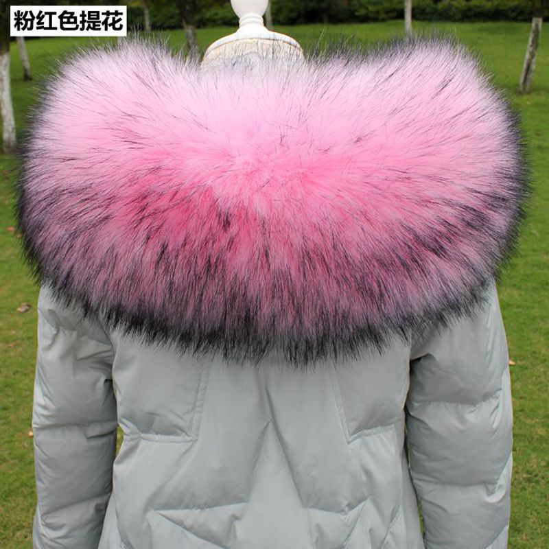 Winter Big Faux Fur Collars Women Winter Fake Fur Hood Collar Women Big Raccoon Fur Collar Scaves Colorblock Faux Fur Collar