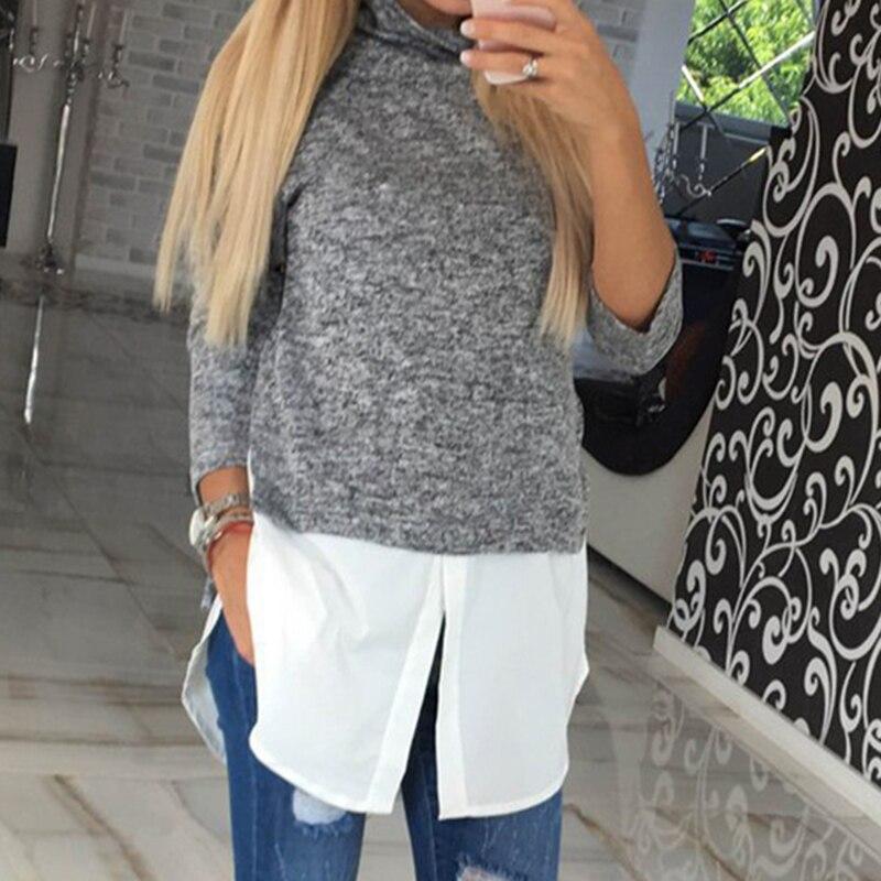 Autumn Top Women Fake 2 Pieces Patchwork Shirt Long Sleeve Turtleneck Basic Tops Fashion Slim Tee Female Blusa WS1225C