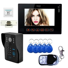 9″Inch Video Door Phone Doorbell Intercom System RFID Keyfobs KeyPad CCTV Unlock Monitor Night Vision Rainproof With Door Lock