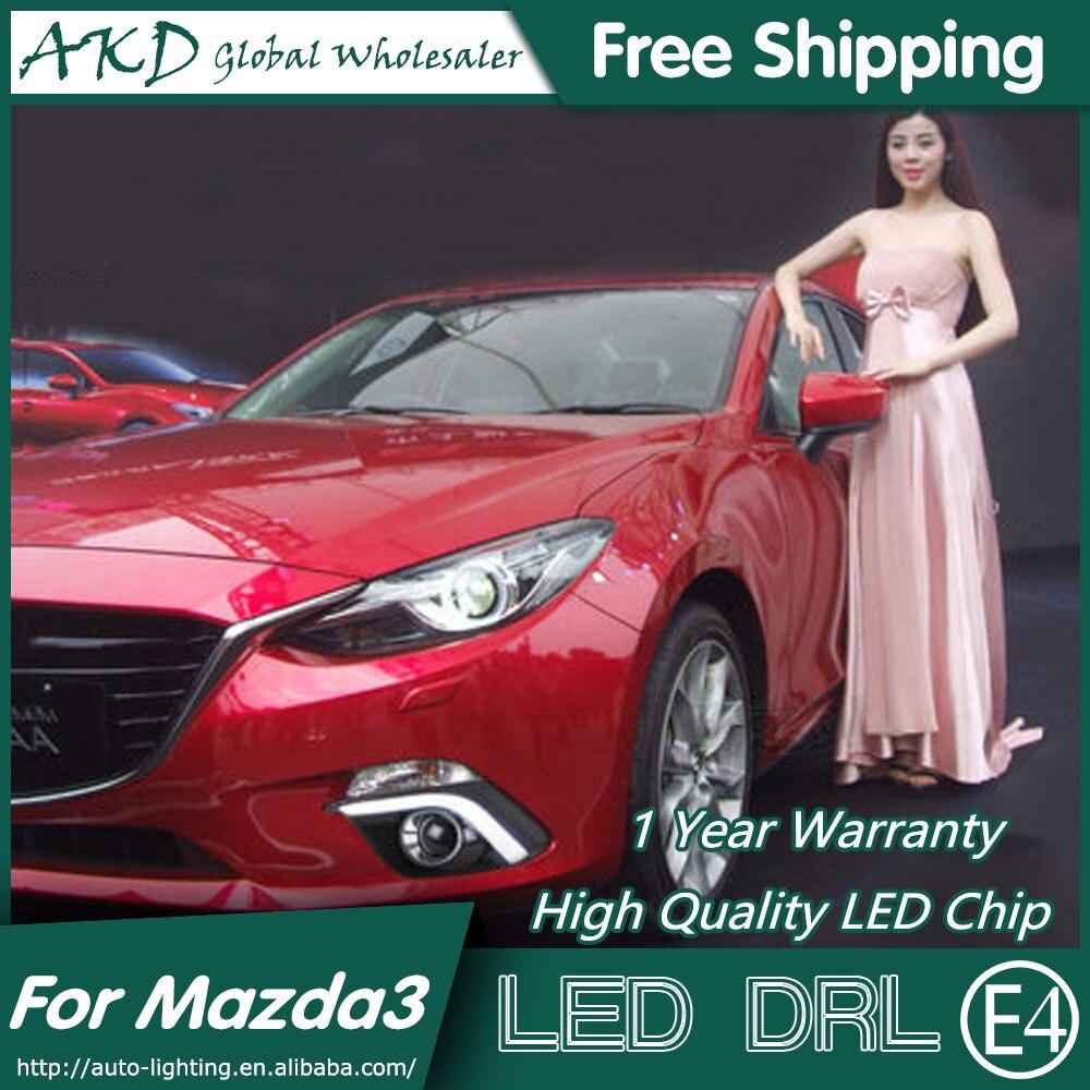 AKD Car Styling for Mazda 3 DRL 2015 Mazda3 Axela COB Signal LED DRL Turn Signal LED Running Light Fog Light Parking Accessories