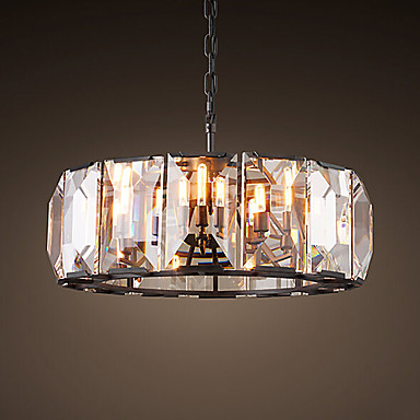 American Vintage Round Crystal Chandelier LED Light Fixtures For Living Dining Room Hanging Lamp Indoor Lighting Lamparas modern crystal chandelier led hanging lighting european style glass chandeliers light for living dining room restaurant decor