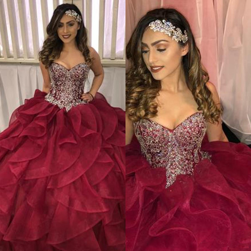 2019 Tiered Cascading Ruffles Quinceanera Dresses Pageant Dazzling Dress Crystal Beads Burgundy Organza Ball Gown Prom Dresses