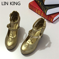 LIN KING Lady Pumps High Heels Buckle Straps Sweet Lolita Shoes Solid Platform Crystal Cosplay Maid Princess All Match Shoes