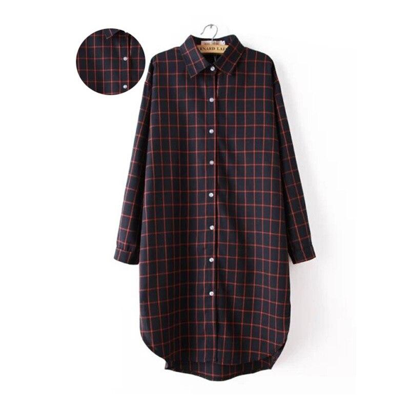 YSMILE Y Spring Newest Women Plaid Dress Casual Straight Turn-down Collar Shirt Dress Female Loose Long Sleeve Dress W1304