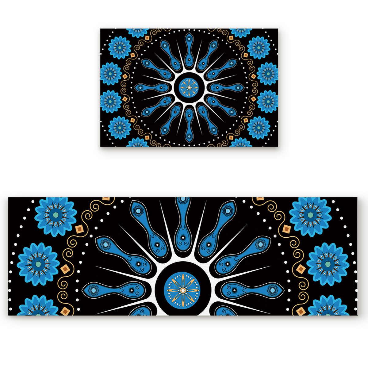 2 ピースキッチンマットやラグセット現代曼荼羅チョウセンアサガオ仏教エスニックホーム Deocr 非スキッドエリアランナー玄関マットカーペット