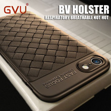 GVU Super Soft Phone Case For iPhone 8 Luxury Grid Weaving Cases For iPhone 6 6s 7 8 Plus X Cover Silicone Accessories Black