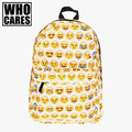Yellow emoji 3D Printing laptop backpack school bags for teenagers mochila masculina fashion bookbag backpacks rugzak sac a dos