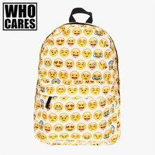 Jaune emoji 3D Impression ordinateur portable sac à dos sacs d'école pour les adolescents mochila masculina mode bookbag sacs à dos rugzak sac à dos