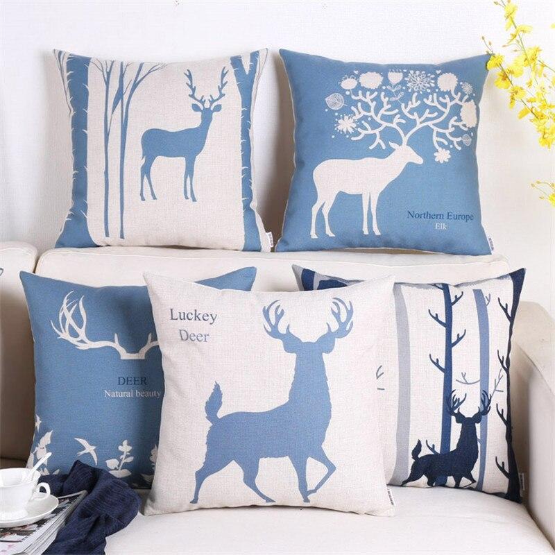 Moda foresta Nordic deer moderno e minimalista blu cervo cuscino ...