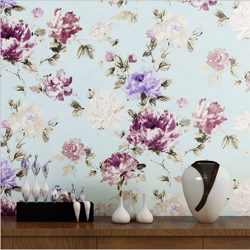 Chinese Style Ink Painting Peony Flower Pure Non-Woven Wallpaper Bedroom Living Room TV Background Wall Paper Roll 3D Home Decor non woven flocking wallpaper modern 3d flower living room tv background home decor wall paper bedroom vertical striped wallpaper
