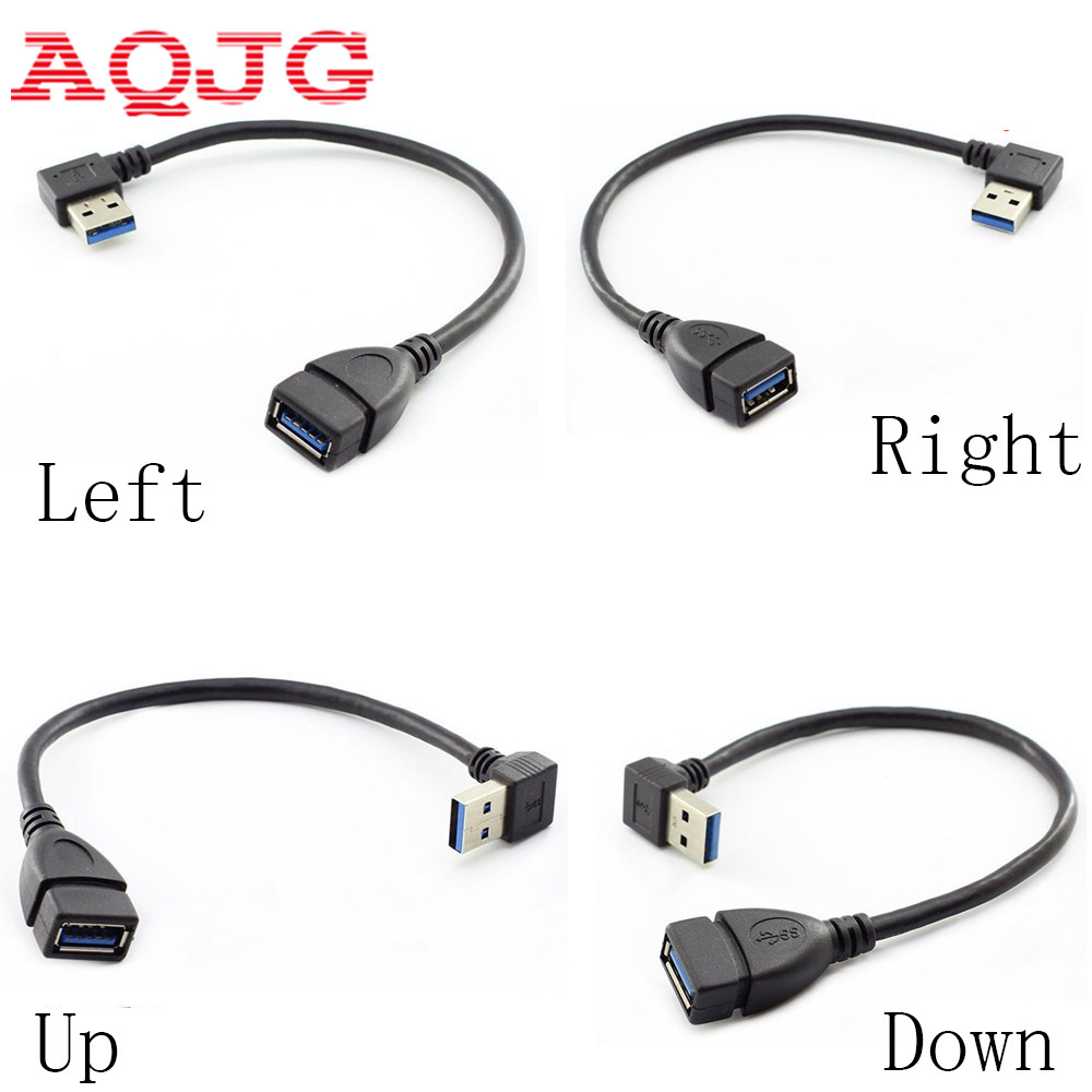 USB 3.0 Right Angle 90 Degree Extension Cable Male To Female Adapter Cord 15cm Usb Male To Female  Left Up Down  Angle AQJG