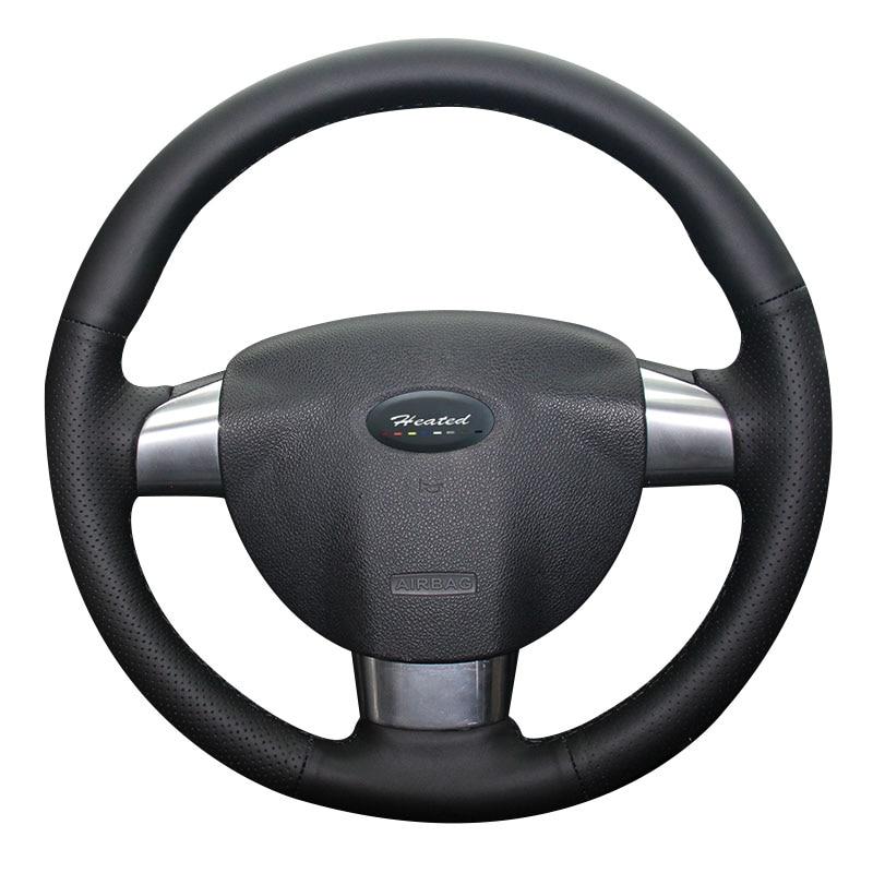 Protector para volante de coche para Ford Focus 2 (3 radios) Estilo de coche trenza de cuero de microfibra en el volante