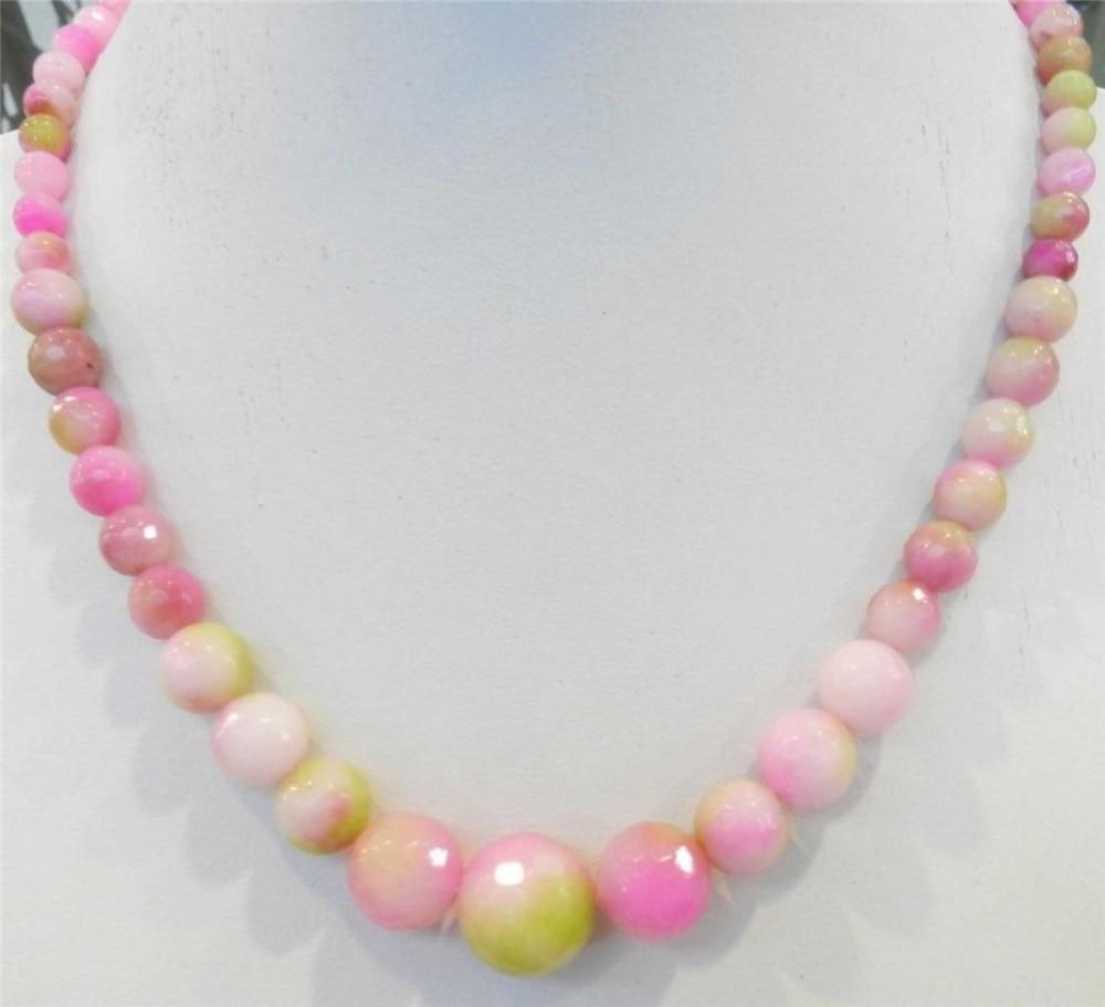 6-14mm tváří růžová vícebarevná Kunzite kulaté korálky náhrdelník perla šperky lano řetízek náhrdelník perly korálky přírodní kámen 18inch