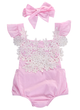 Newborn Baby Girls Rompers Lace Floral Jumpsuit + Headband 2pcs Outfits Sunsuit Clothes