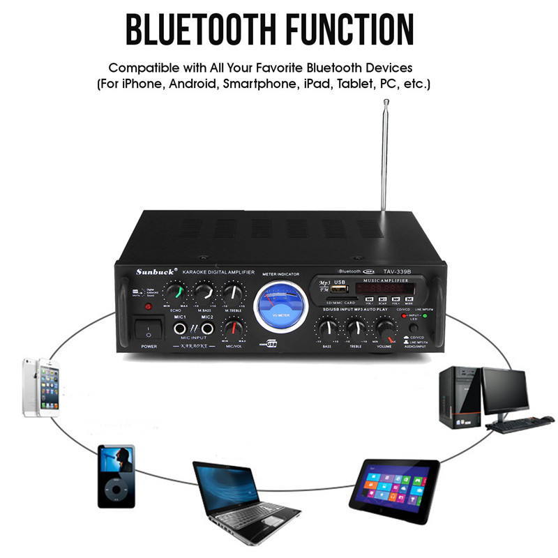 Bluetooth Stereo Receiver Power Amplifier US Plug 110V 600W Audio Karaoke Home Car Hi-Fi FM Amplifier With Remote Control