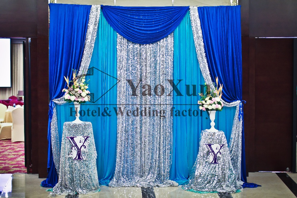 3M*3M Turquoise Color Backdrop Curtain With Royal Blue And Silver Drape Swag