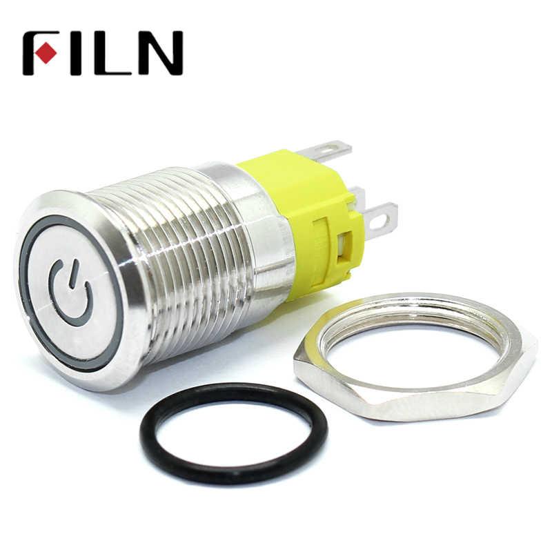16mm 6V 12V 110V 220V LED verrouillage momentané en laiton Nickel plaque antivandale étanche en métal bouton-poussoir interrupteur avec symbole de puissance