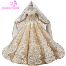 2018 Gold Lace Sequin Sleeveless V-neck Bridal Gown Floor-length Waves Ball Vintage Wedding Dresses With Necklace Long Veil