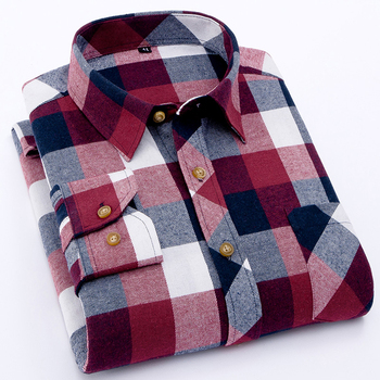 EYM Brand Flannel Plaid Shirt Men Cotton 2018 Autumn New Male Casual Long Sleeve Shirt Plus size High Quality Warm Man Clothes 1